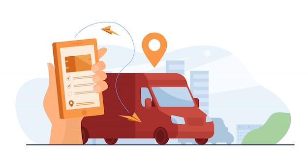 Klient korzystający z aplikacji mobilnej do śledzenia dostawy zamówień