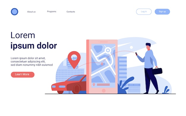 Klient korzystający z aplikacji online do zamawiania taksówki lub wynajmu samochodu