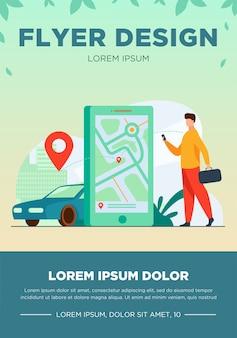 Klient korzystający z aplikacji online do zamówienia taksówki lub wynajmu samochodu. mężczyzna szuka taksówki na mapie miasta. ilustracja wektorowa usługi wypożyczania samochodów, transport miejski, koncepcja aplikacji