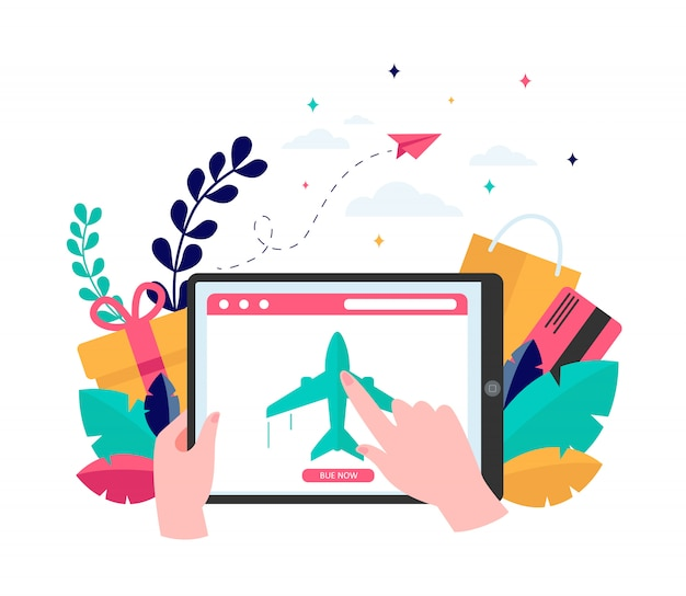 Klient kupujący bilety lotnicze online