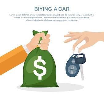 Klient kupujący samochód, przekazujący pieniądze dealerowi