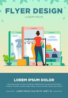 Klient kupujący tkaninę w sklepie internetowym. kobiety za pomocą gadżetu do zakupów online ilustracji wektorowych płaski. e-commerce, sprzedaż, koncepcja sprzedaży detalicznej banera, projekt strony internetowej lub strona docelowa