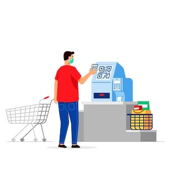 Klient kupuje artykuły spożywcze za pomocą bezdotykowego automatu kasjerskiego