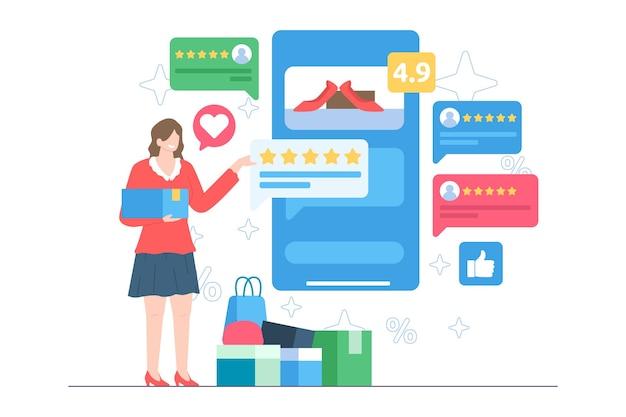 Klient ocenia ilustrację sklepu internetowego
