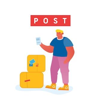 Klient odwiedza urząd pocztowy.