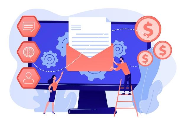 Klient otrzymuje automatyczną wiadomość marketingową, malutkie osoby. system automatyzacji marketingu, automatyczna wiadomość reklamowa, ilustracja koncepcji pulpitu marketingowego