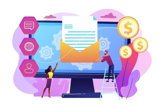 Klient otrzymuje automatyczną wiadomość marketingową, malutkie osoby. system automatyzacji marketingu, zautomatyzowany komunikat reklamowy, koncepcja pulpitu marketingowego.