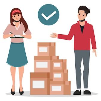 Klient robi zakupy online i usługa dostawy