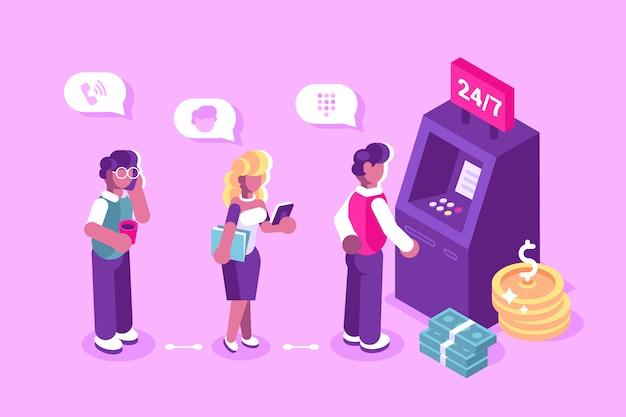 Klient stoi blisko atm maszyny i trzyma kredytowej karty ilustrację