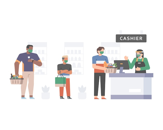Klient ustawia się w kolejce do kasy supermarketu, stosując protokół bezpieczeństwa i higieny pracy, zachowując dystans społeczny i nosząc ilustracje z maską na twarz