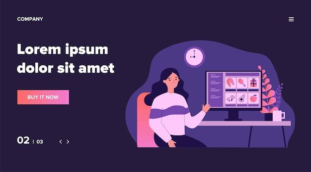 Klient wybiera jedzenie w sklepie internetowym. kobieta przy komputerze, ilustracja sklep internetowy. usługa, zamówienie żywności podczas koncepcji blokady dla banera, witryny internetowej lub strony docelowej