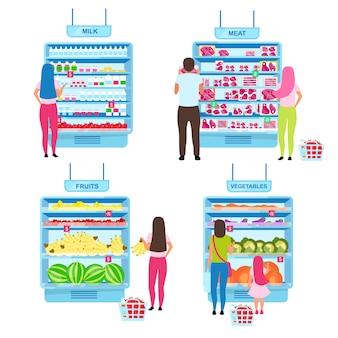 Klient wybiera produkty płaskie ilustracje zestawu. kupujący dokonujący wyboru w sklepie spożywczym, stojący w pobliżu półek supermarketów z towarowymi postaciami z kreskówek. zakupy na rynku rolników