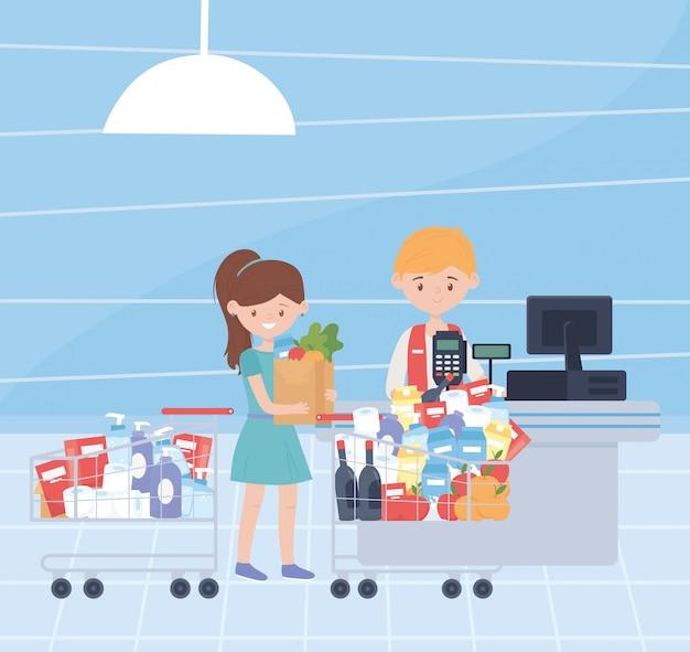 Klient z furami i torbą folował produkty do czyszczenia jedzenia nadmiernego zakupu ilustrację