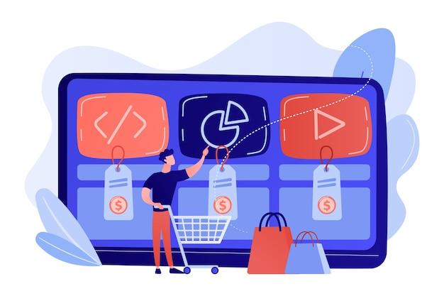 Klient z koszykiem kupujący usługę cyfrową online. rynek usług cyfrowych, gotowe rozwiązanie cyfrowe, ilustracja koncepcji struktury rynku online