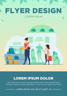 Klientki zakupy w sklepie z ubraniami. kobiety wybierające ubrania, akcesoria modowe w sprzedaży w butiku. ilustracja wektorowa dla sklepu, marketingu, zakupu, koncepcji konsumentów