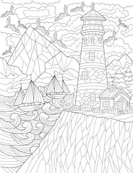 Klif z latarnią morską z wieloma latającymi ptakami i łodziami płynącymi bezbarwnymi przewodnikami po rysowaniu linii