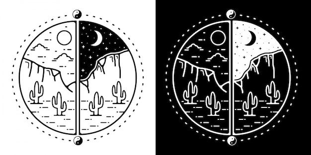 Klify pustyni monline odznaka projekt na zewnątrz