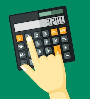 Kliknięcia palcem na ilustracji kalkulatora