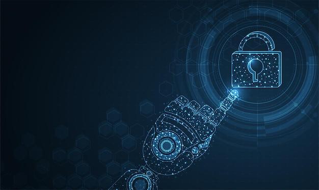 Kliknięcie w wyświetlacz z siecią i kłódką cyberbezpieczeństwo ochrona danych biznesowych