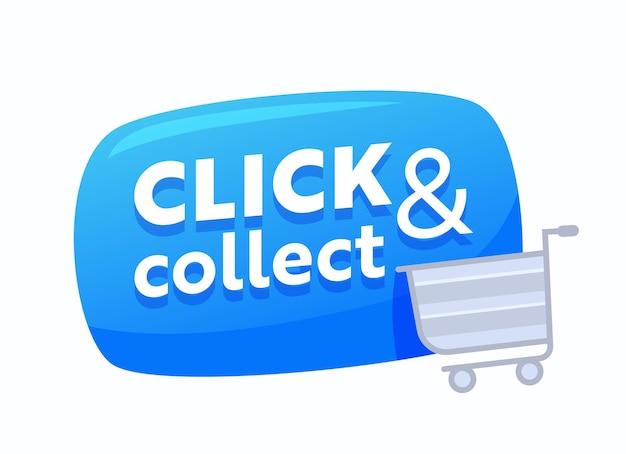 Kliknij i odbierz niebieską bańkę z wózkiem na zakupy, baner promocyjny sprzedaży internetowej na zakupy online i usługę zamawiania towarów. przycisk zakupu aplikacji mobilnej. ilustracja wektorowa