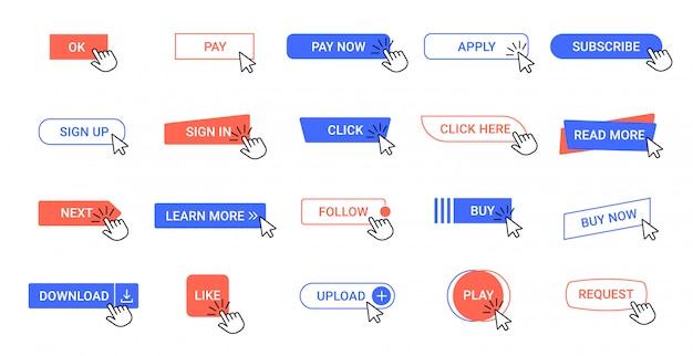 Kliknij przycisk. przyciski klikania wskaźnika internetowego, narzędzia kursora myszy interfejsu aplikacji komputerowej. strzałka kliknij zestaw ikon elementów interfejsu użytkownika