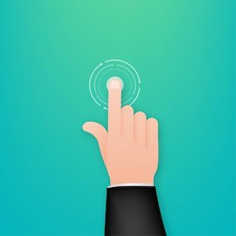 Kliknij rękę w płaskiej ilustracji