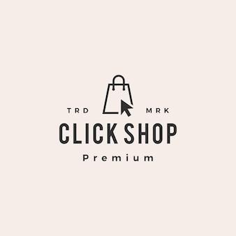 Kliknij sklep logo vintage torba na zakupy