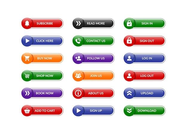 Kliknij subskrybuj kup zestaw przycisków kolekcja premium