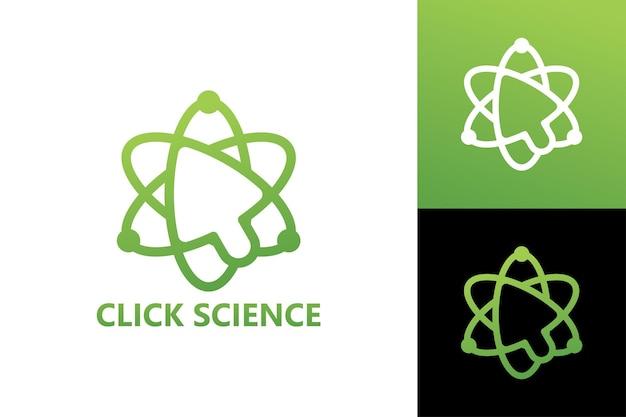 Kliknij szablon logo nauki wektor premium