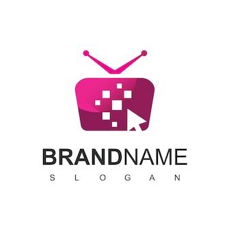 Kliknij szablon projektu logo telewizora