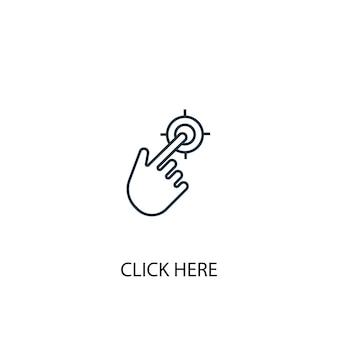Kliknij tutaj ikona linii koncepcji. prosta ilustracja elementu. kliknij tutaj koncepcja symbol konspektu projekt. może być używany do internetowego i mobilnego interfejsu użytkownika/ux
