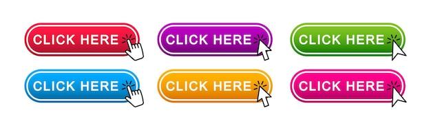 Kliknij tutaj przyciski internetowe. zestaw przycisku akcji kliknij tutaj ze wskaźnikiem strzałki. ilustracja wektorowa.
