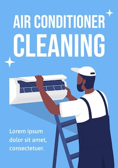 Klimatyzator czyszczenie plakat płaski szablon wektorowy