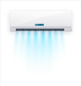 Klimatyzator z izolowanym świeżym powietrzem. biała klimatyzacja na jasnym tle w dobrym stylu. ilustracja o sprzęcie elektrycznym w domu.