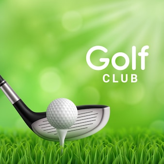 Klin 3d do rzucania żelaza uderzając piłkę golfową na zielony trawnik z putting green