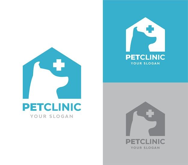 Klinika dla zwierząt domowych z wektorem logo psa silhoutte