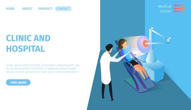 Klinika i szpital poziomy baner. opieka zdrowotna