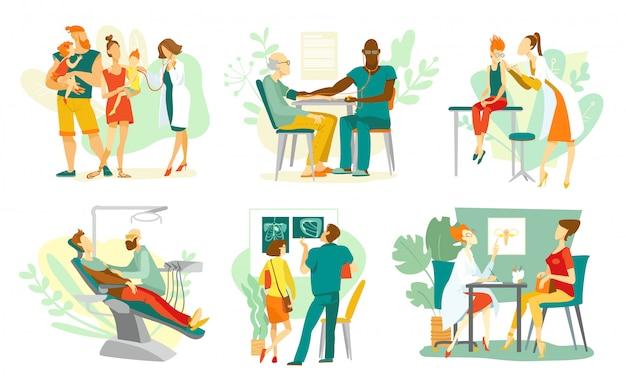 Klinika, lekarze w szpitalu z pacjentami, medycyna i zestaw opieki zdrowotnej na białej ilustracji. konsultacja lekarska, leczenie, chirurg, stomatolog, pediatra.