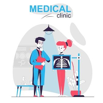 Klinika medyczna na białym tle koncepcja kreskówka kobieta sprawia, że lekarz rentgenowski klatki piersiowej bada pacjenta