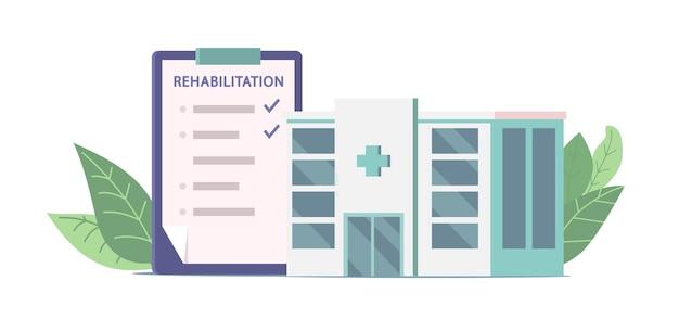 Klinika rehabilitacji i lista z procedurami ikona na białym tle. opieka zdrowotna i fizjoterapia dla poszkodowanych, usługi medyczne, recepta rehabilitacyjna. ilustracja kreskówka wektor