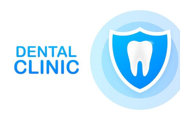 Klinika stomatologiczna koncepcja transparent z charakterem.