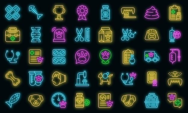 Klinika weterynaryjna ikony ustaw wektor neon