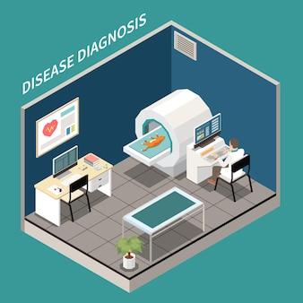Klinika weterynaryjna laboratorium diagnostyczne widok izometryczny z kotem przechodzącym przez asystenta badania rezonansu magnetycznego za komputerem