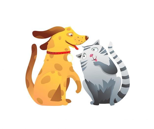 Klinika weterynaryjna lub schronisko dla psów i kotów komiks przyjazny dla zwierząt domowych rysunek.