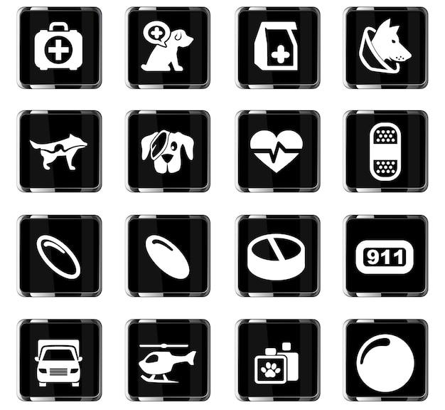 Klinika weterynaryjna wektorowe ikony do projektowania interfejsu użytkownika