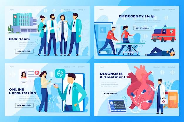 Kliniki medycznej strony internetowej projekt, centrum opieki zdrowotnej pojęcie, szpitalna ilustracja