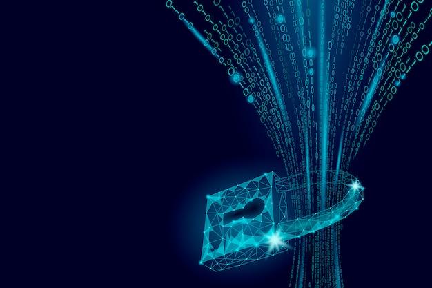 Kłódka bezpieczeństwa cybernetycznego na masie danych, blokada bezpieczeństwa internetowego prywatność informacji low poly