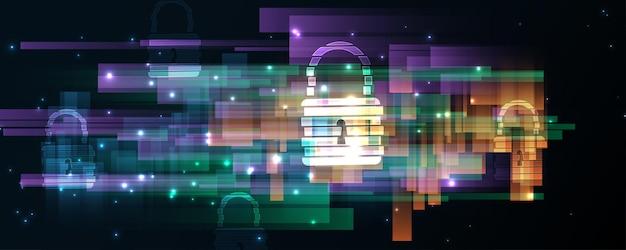 Kłódka bezpieczeństwo cyber cyfrowa koncepcja abstrakcyjne tło technologii ochrony ilustracji wektorowych innowacji systemu