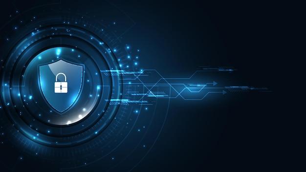 Kłódka bezpieczeństwo cyber cyfrowa koncepcja ochrony systemu