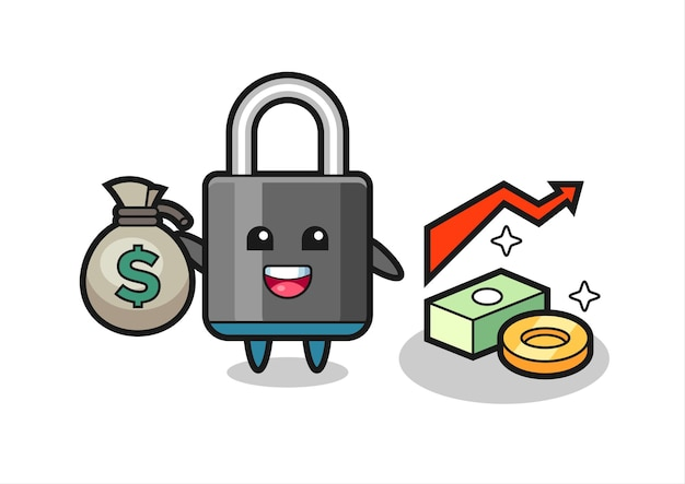 Kłódka ilustracja kreskówka trzymając worek pieniędzy, ładny styl na koszulkę, naklejkę, element logo